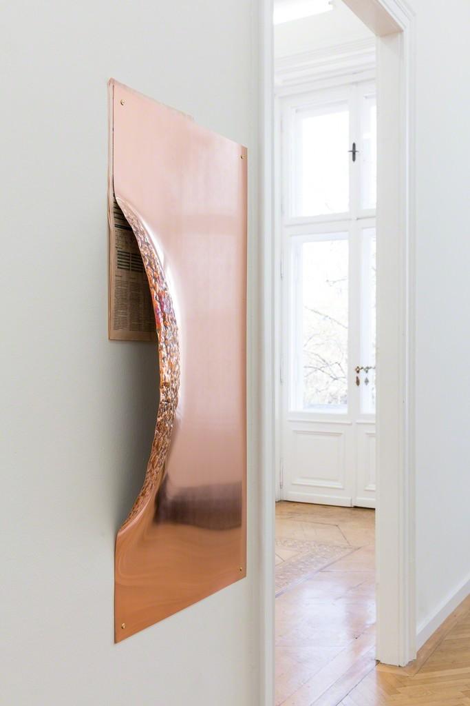 Marie Lund \ Grip, 2018 Copper, newspaper, hardware 47 4/5 × 23 1/5 × 4 7/10 in; 121.5 × 59 × 12 cm  Croy Nielsen, Berlin    CHART ART FAIR 2018
