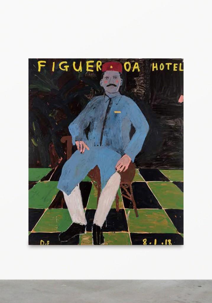 Danny Fox \ Hotel Figueroa, 2017 Acrylic on canvas 71 7/10 × 59 4/5 in; 182 × 152 cm  V1 Gallery, Copenhagen V    CHART ART FAIR 2018