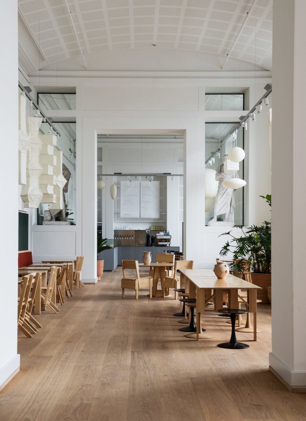 Kafeteria@National Gallery of Denmark (SMK) - Statens Museum for KunstSølvgade 48-50, 1307 Copenhagen KDanish and Japanese influences merge at this new cafe designed by artist Danh Vo and run by Copenhagen-based chef du jour Frederik Bille Brahe. The ambition for Kafeteria was to create synergy between food and art, and that's exactly what they succeeded in doing by combining Italian designer Enzo Maris's do-it-yourself furniture and Noguchi-esque lamps with Bille Brahe's green kitchen.