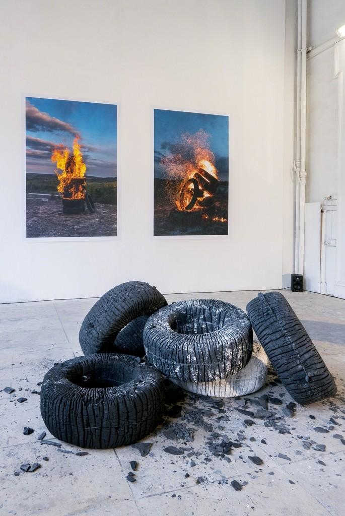 Nøne Futbol Club \ Work nº144: Hot Wheels, 2017 Mixed media 23 3/5 × 55 1/10 in; 60 × 140 cm  GSB / Gallery Steinsland Berliner,Stockholm   CHART ART FAIR 2018