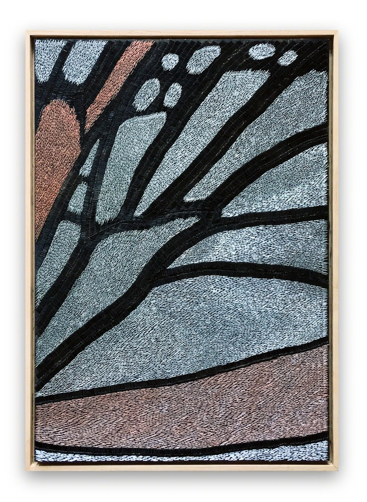 Sasha Huber \ Migrating Monarch Up Close, 2018 Wood, staples 27 3/5 × 19 7/10 × 1 3/5 in; 70 × 50 × 4 cm  Lokal, Helsinki   CHART ART FAIR 2018