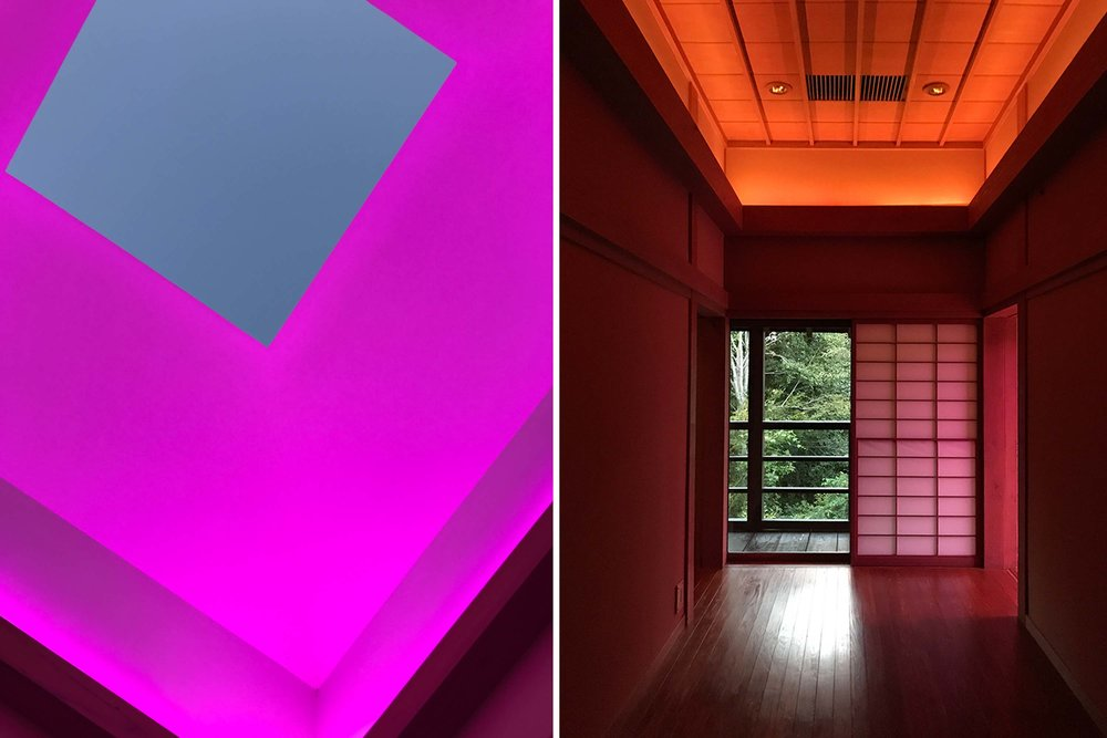Left: The evening light show. Right: The House of Light's Genkan, where one is to remove shoes before entering a Japanese home.