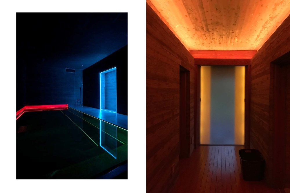 Left: Turrell's Light Bath on the ground floor of House of Light. Right: Entryway to the Downstairs Garden Room and Light Bath