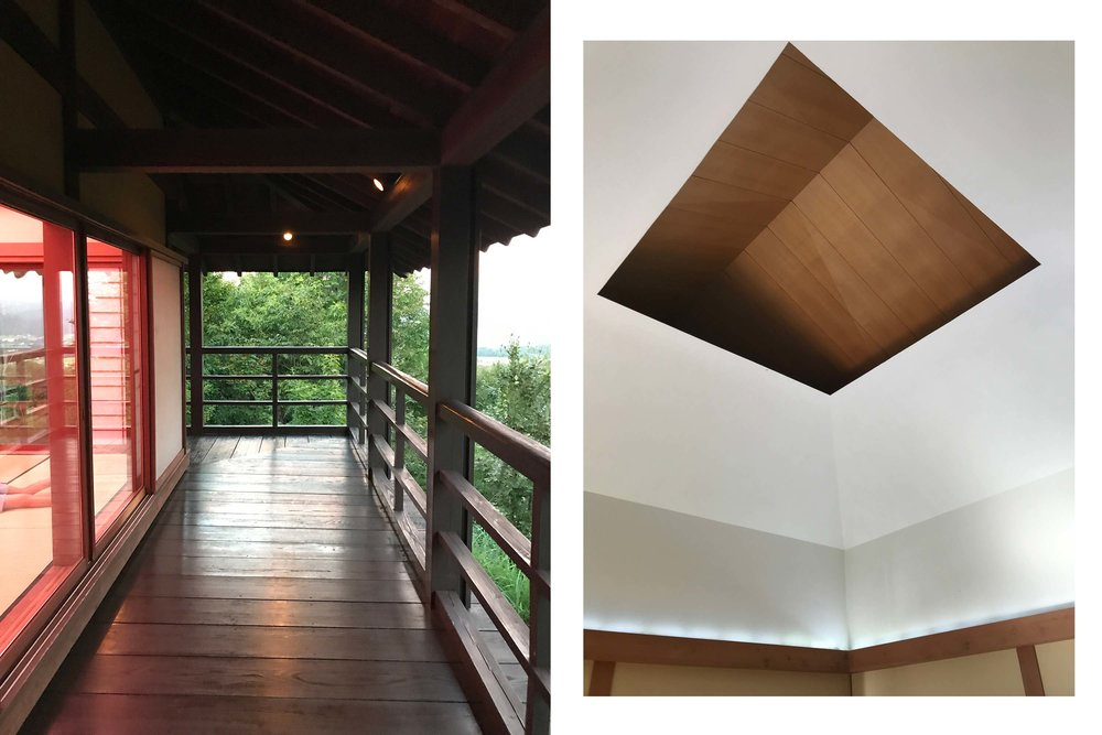 Left: Exterior wraparound porch during the light show. Right: The closed retractable roof between light shows.