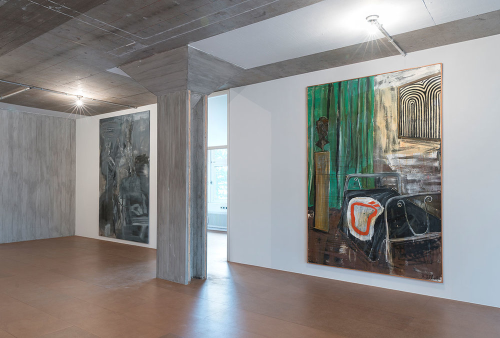 Albert Oehlen's Room with 'Ö', 1986 (right) and Bear with Distinction, 1997 (left) from the Grässlin Collection