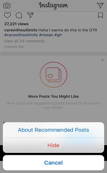 You can also temporarily hide the Recommended Posts section even though it only shows three photos at a time.