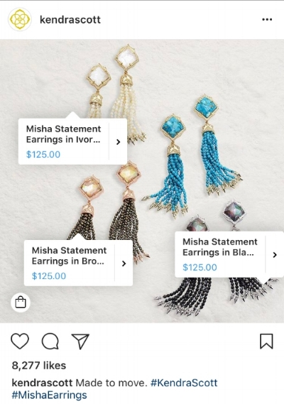 Kendra Scott with shopping access on Instagram in  May 2017 .