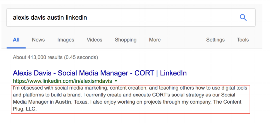 Your LinkedIn summary section can also be found on Google!