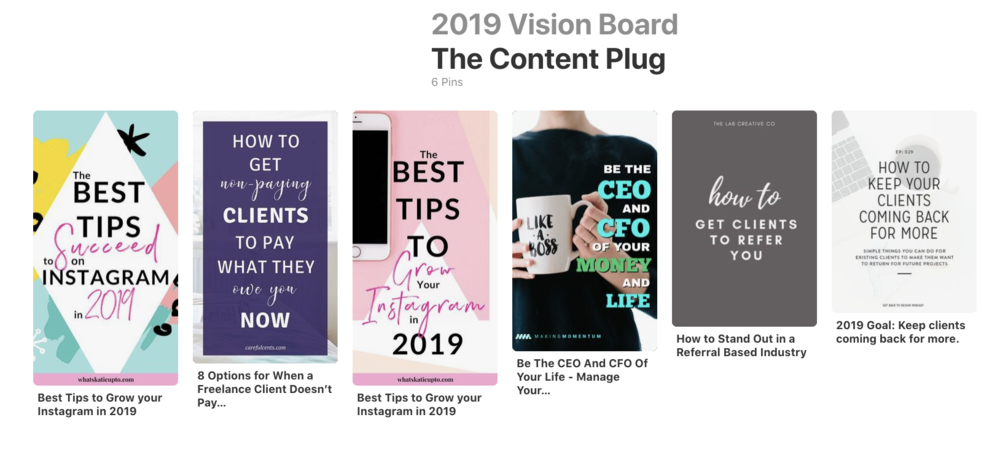 The beginning of The Content Plug's section on my 2019 Vision Board.