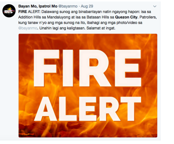IMAGE Recent local fire alerts in Metro Manila tallied on August 29, 2018