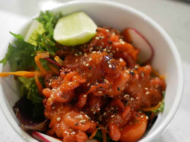 Baby Octopus salad. Try our new appetizer's crunchy baby octopus with spicy sweet sauce. Very addictive!! 😜 You can order some rice to pair with this for a perfect light meal.