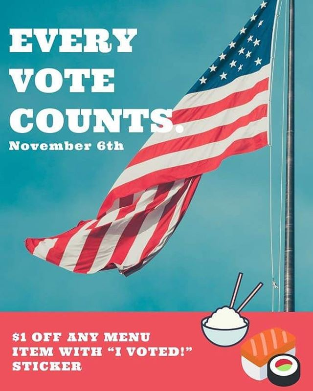 "*** ELECTION DAY SPECIAL *** Show us your ""I Voted!"" sticker and get $1 off any poké bowl, sushi burrito, or sushi roll!  Same promotion applies for those with ""I Voted Early!"" stickers on 11/5 🙂  Now get out there and vote!!! **Discount is applicable for one item per person only** #hilopokesushi #pokebowl #rhouse #election2018"