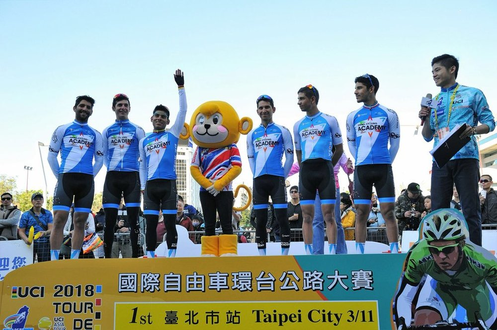 Edwin Avila with Israel Cycling Academy Team at Tour of Taiwan 3rd Stage win.