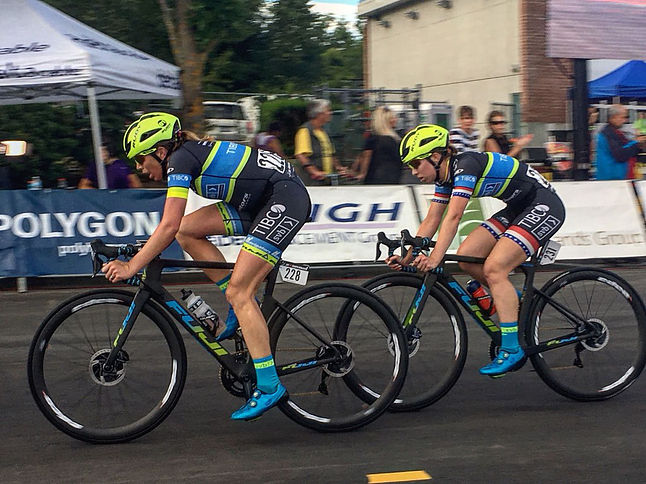 Emily Newsom leading Kendall Ryan out for the win at the North Delta Criterium.