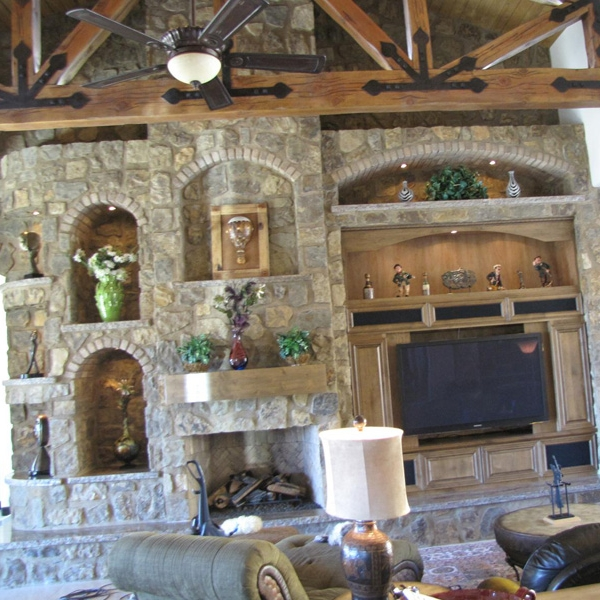 The fireplace can be part of a much bigger motif.