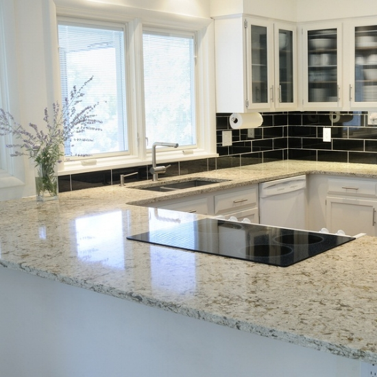 Polished granite gleams like glass.