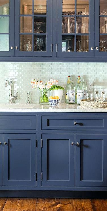 W=If your countertop is a light color, you don't have to be afraid to use a blue which is a few shades darker.