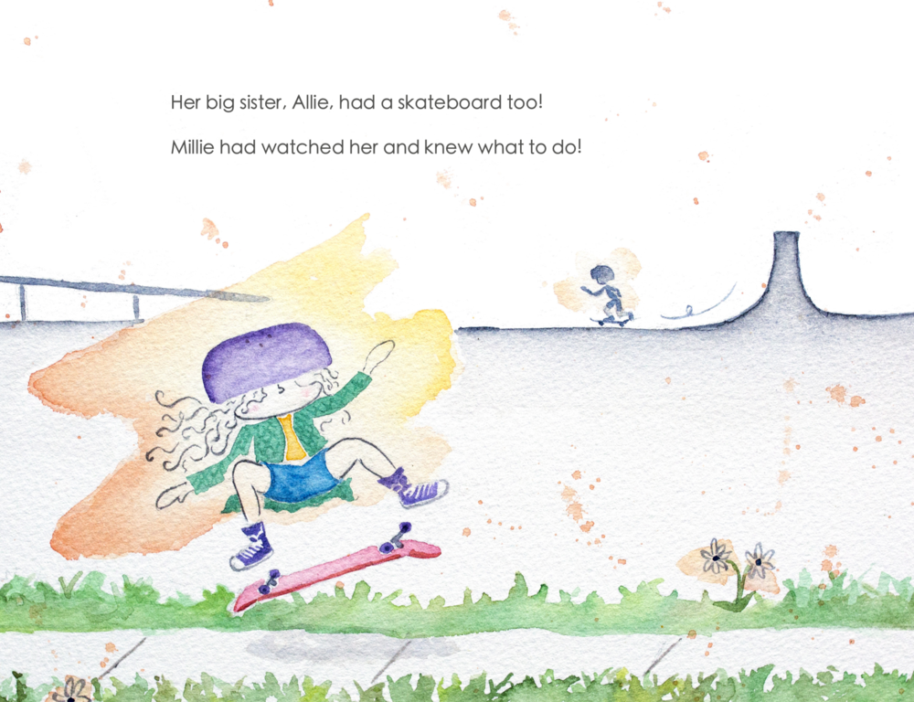 Little-Millie-Ford-and-Her-New-Skateboard-children's-book-kickflip