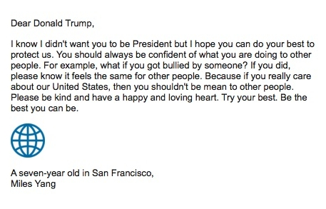 letters to donald trump please be kind and have a happy and loving heart