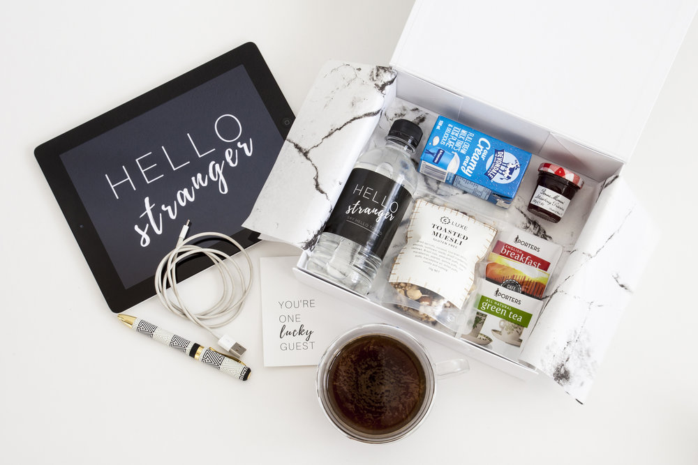 Our kits are specially made for you to give to your guests, filled only with things they'll use and love during their stay.  Pre- packaged and stylishly curated, our kits come individually or in packs of 5, 10 and 20.