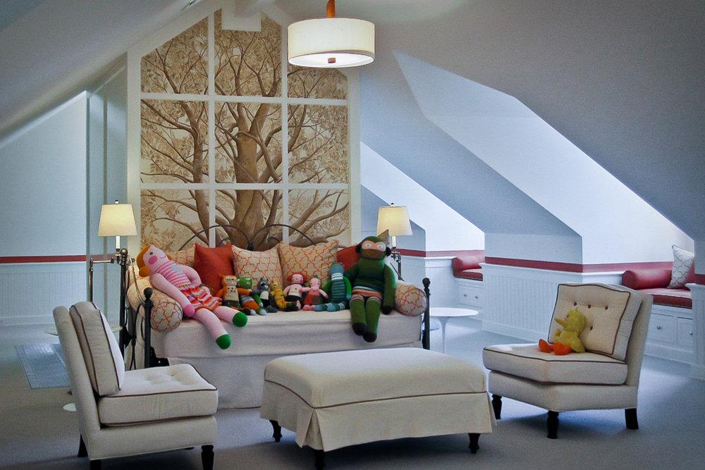 Hamptons |Nueva York    El segundo piso de esta maravillosa propiedad en el corazón de los Hamptons está dedicado a los niños. Color y fantasía.