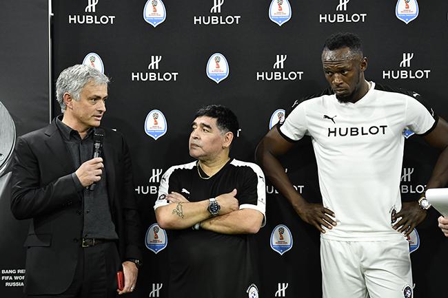 Jose Mourinho, Diego Maradona, Usain Bolt.JPG