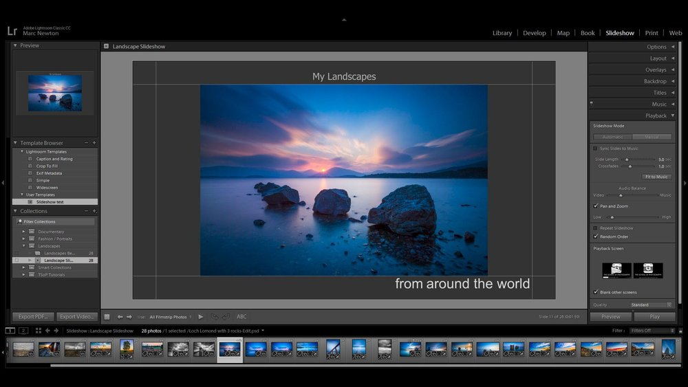 Lesson 17 – Slideshow Module - Creating slideshows in Lightroom is a fun way to show off your work or a more professional way to showcase it to clients. Here we'll look at various ways to create these and then export these slideshows in PDF or video format.