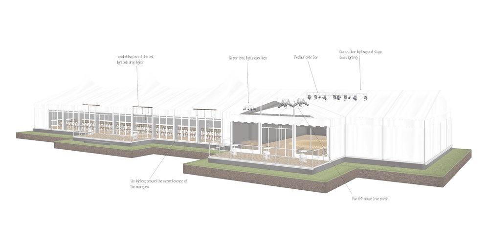 Marquee plan exterior in Buckinghamshire designed by Joseph Benjamin Marquees