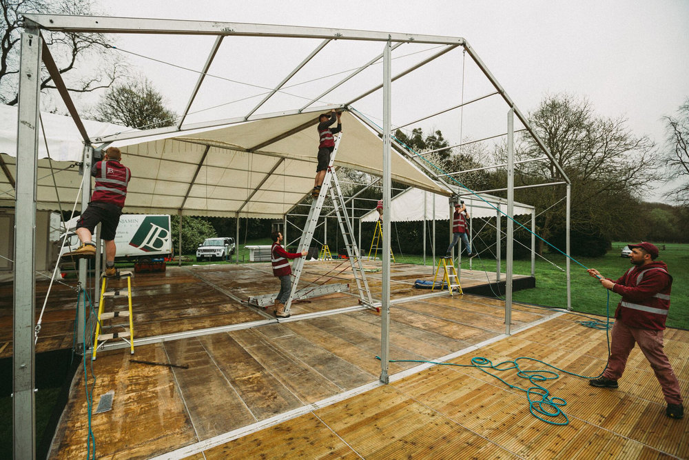 Raised floor marquee under construction in Oxfordshire