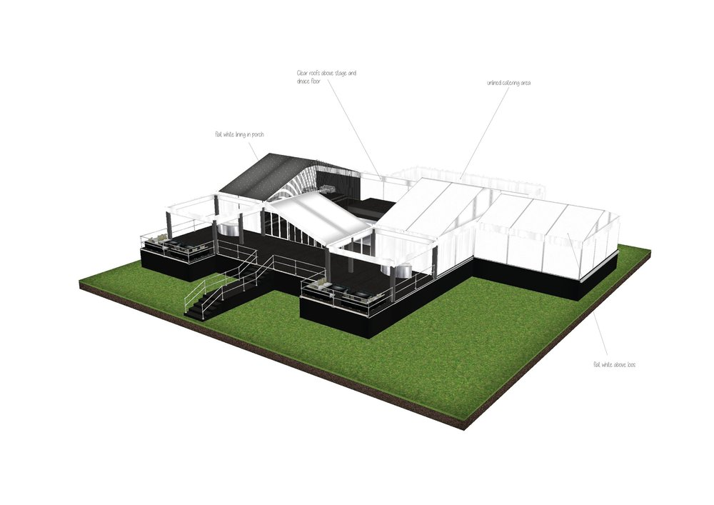 Marquee exterior plan designed by Joseph Benjamin Marquees