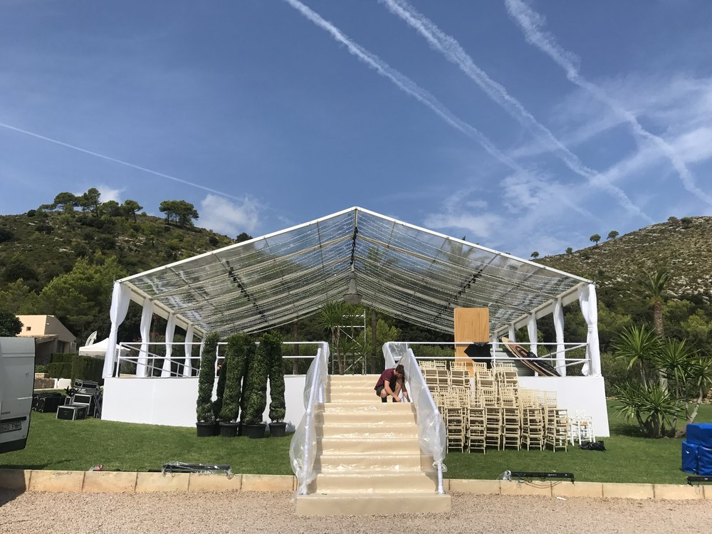 Raised Floor Wedding Marquee with Staircase Entrance