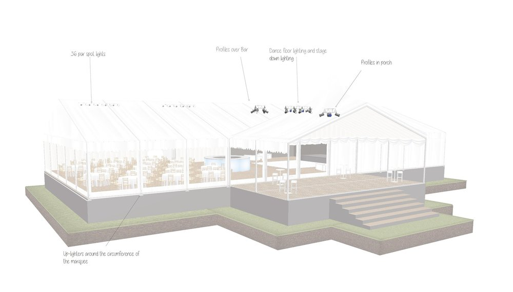 Wedding Marquee 3-D Exterior Plan Designed by Joseph Benjamin Marquees