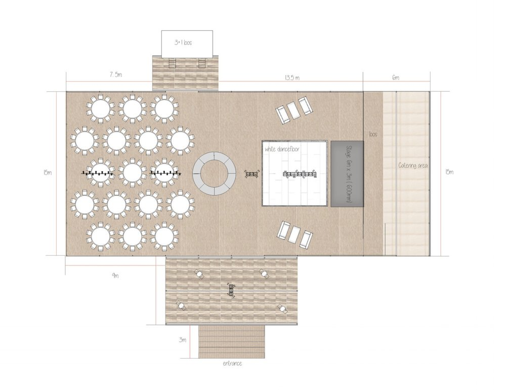 Raised Floor Wedding Marquee 3-D Interior Plan Designed by Joseph Benjamin Marquees