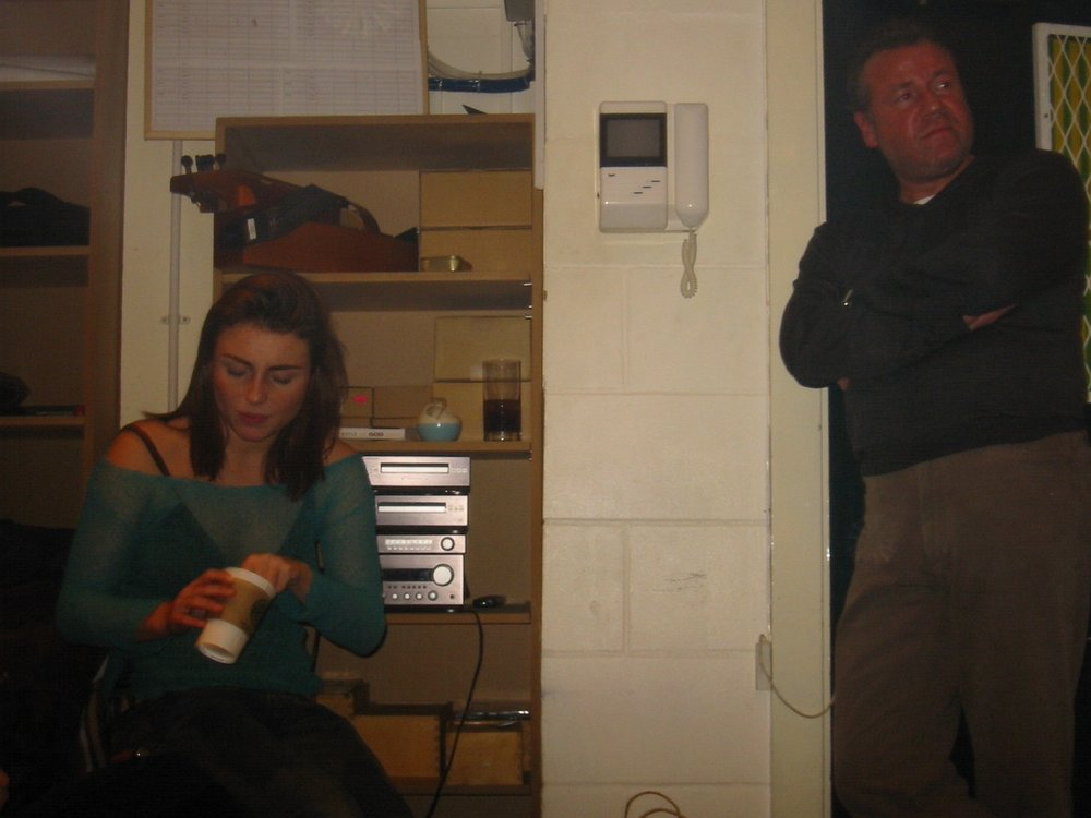 Ray and Lois Winstone at Damon Albarn's studio, recording 'Tender' for the sound track of Everything