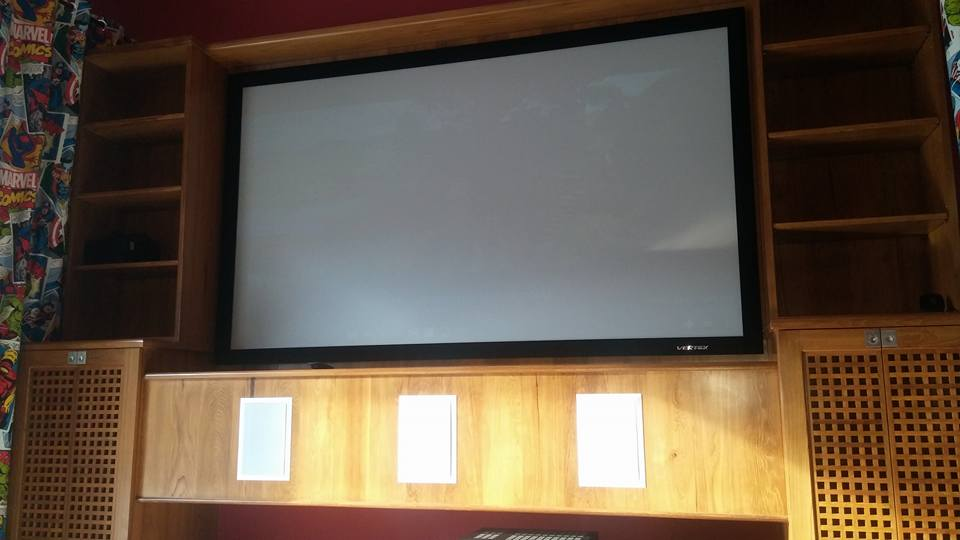 Projection Home Cinema with curtains open