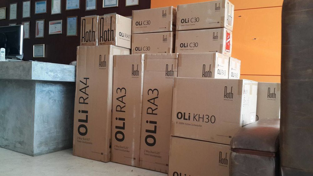 Shipment of new Stereo and Surround Roth Speakers (and Subs) at our Phuket Office.