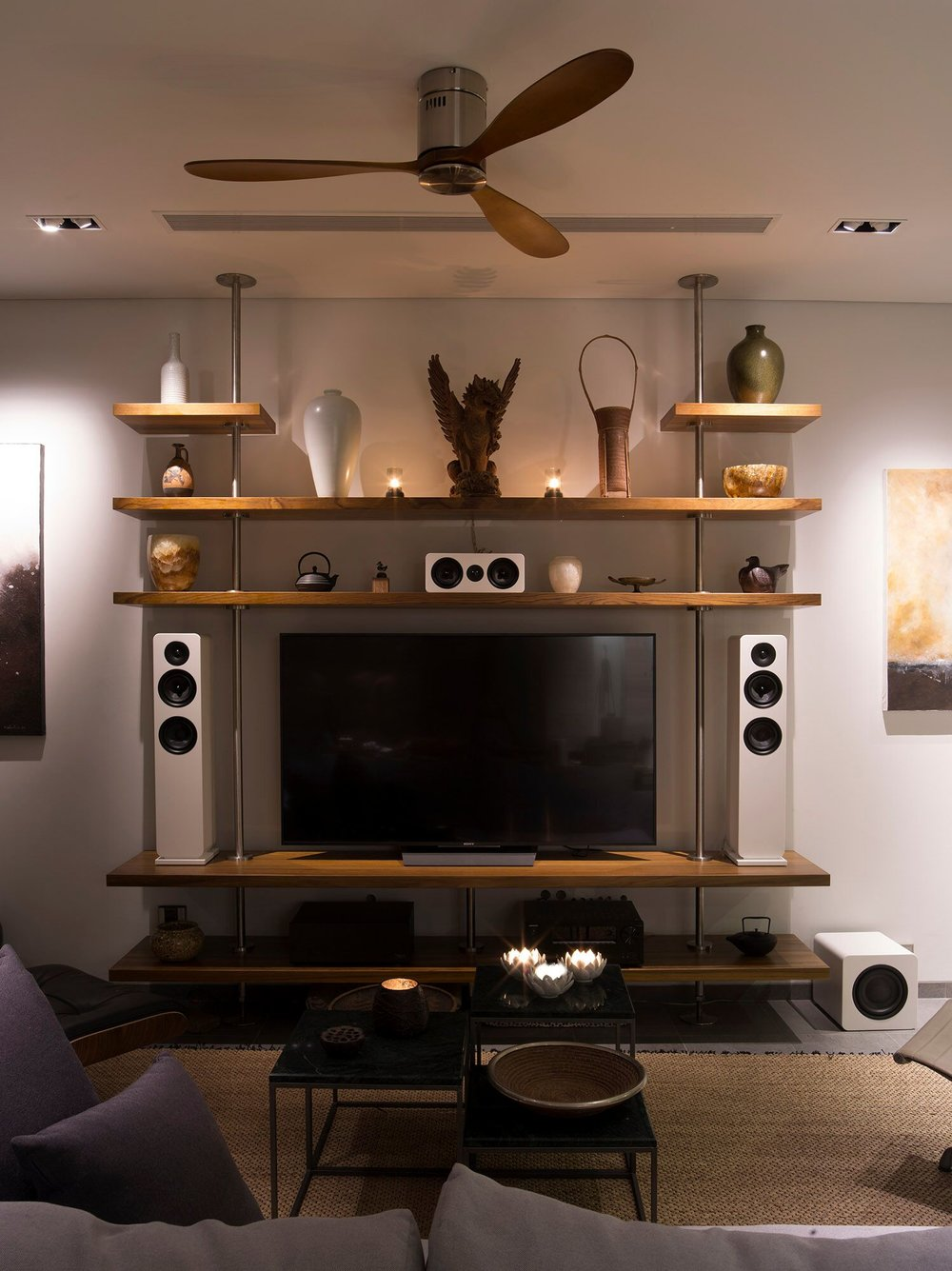 Roth Oli speakers installed in front left, centre, right and sub configuration.