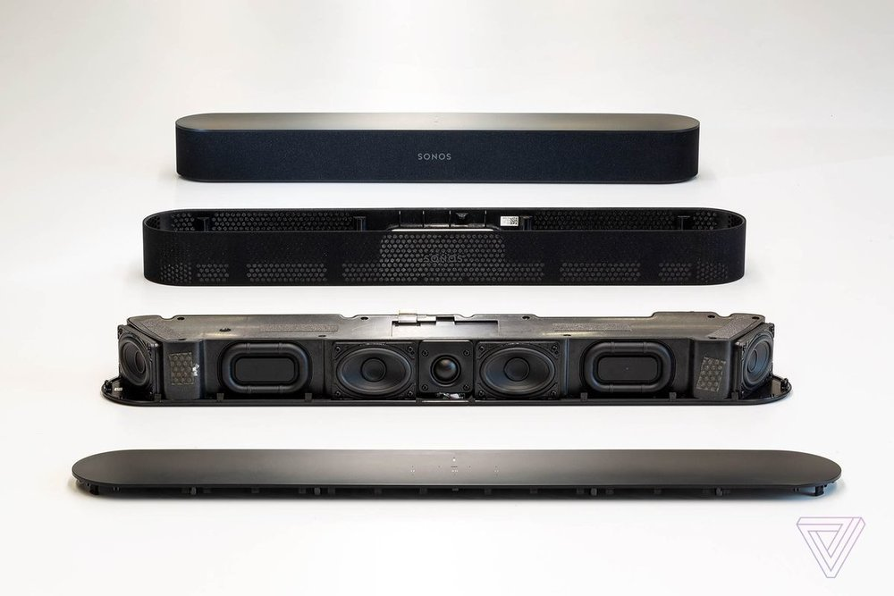 The Sonos Beam features an array of speakers and passive radiators.