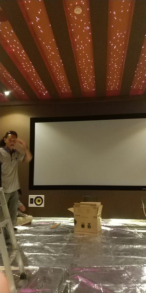 Cinema Screen is up and in-wall speakers start to go in