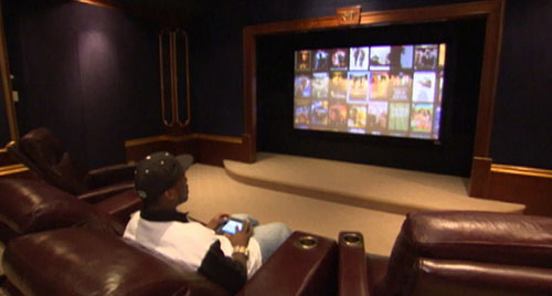 50 Cent enjoying a movie on his Home Cinema