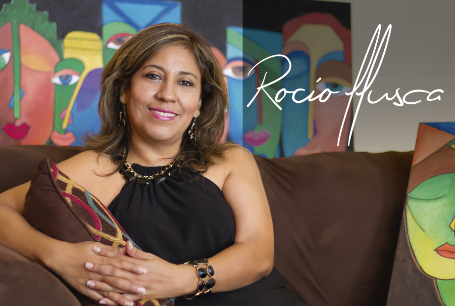 Rocio Llusca Rocio is a mixed media artist who expresses her feelings through her beautiful art. She is originally from Ecuador and has lived in the USA for ten years. Rocio is known for her vivid colors and her expressionistic pieces. She uses recycled materials such as egg shells, paper, T-Shirt rags, and much more. She believes in giving second opportunities to materials that we don't use. Her art is a revelation of her inner thoughts and emotions expressed through unique designs and colors. Rocio's art is a message of unity, creativity and diversity.