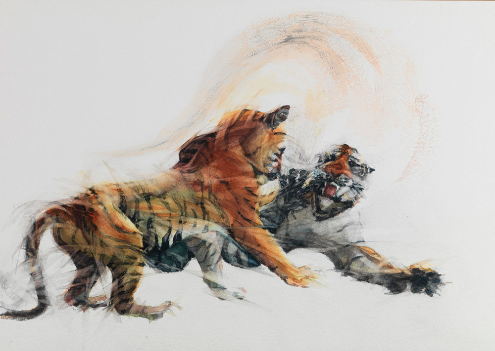 """Cat Passion Watercolour (2)   h. 15"""" w. 21"""" (h. 38.20cm w. 54.40cm)"""