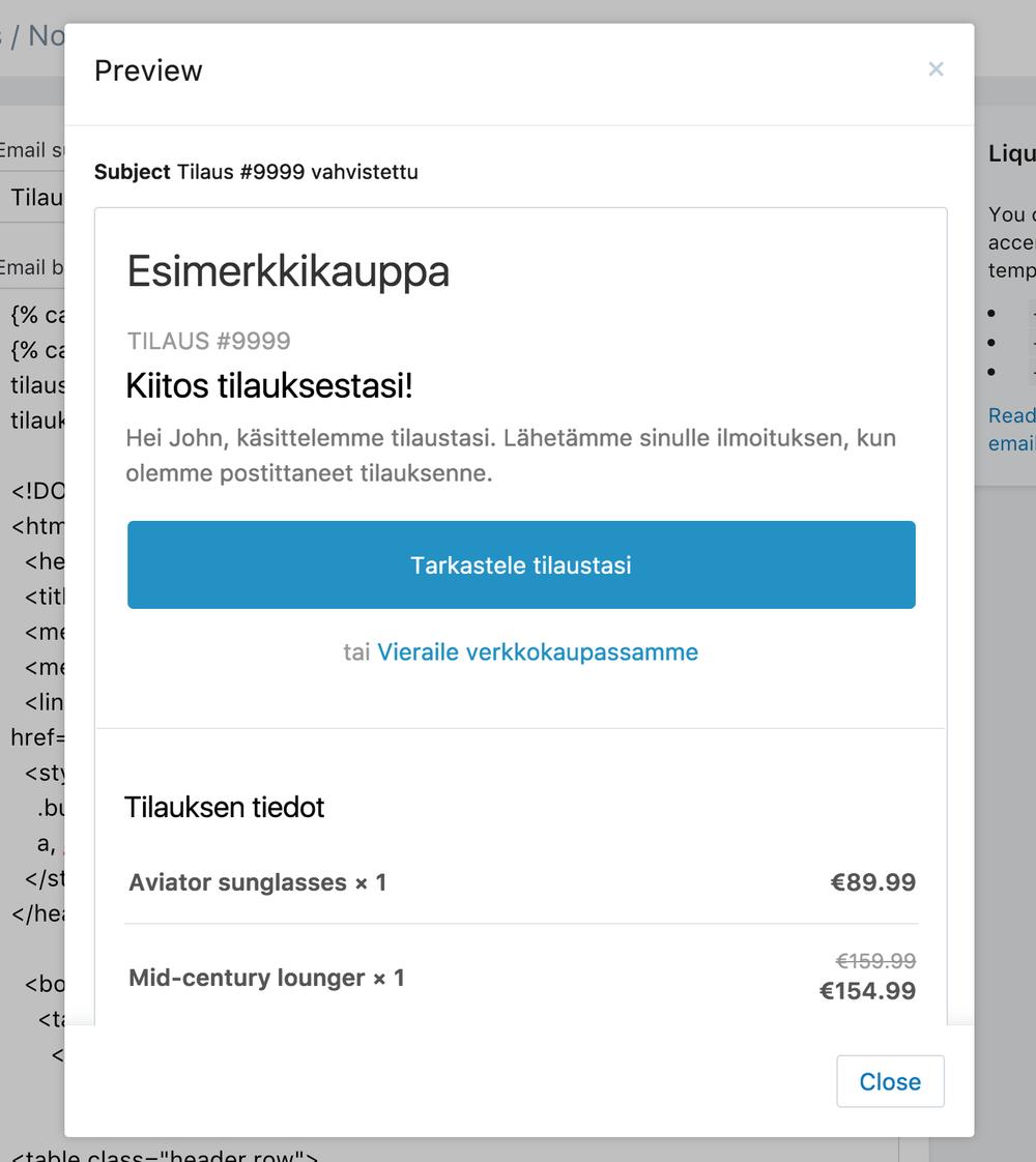 shopify email template suomenkielinen käännös