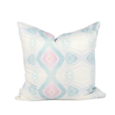Pink & Blue Watercolor Pillow