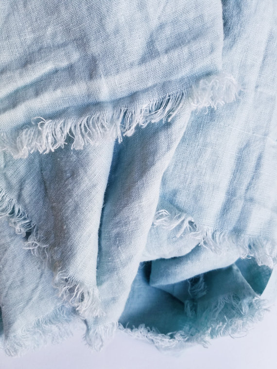 Luxury blue linen beach blanket