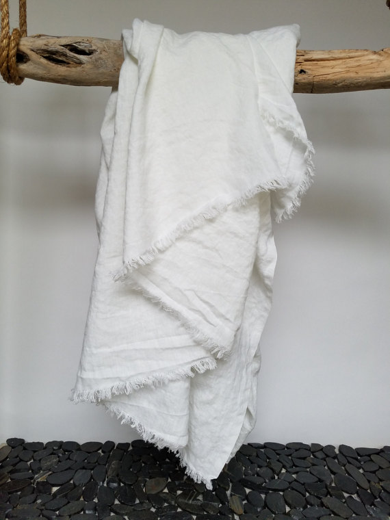 luxury white linen Beach blanket