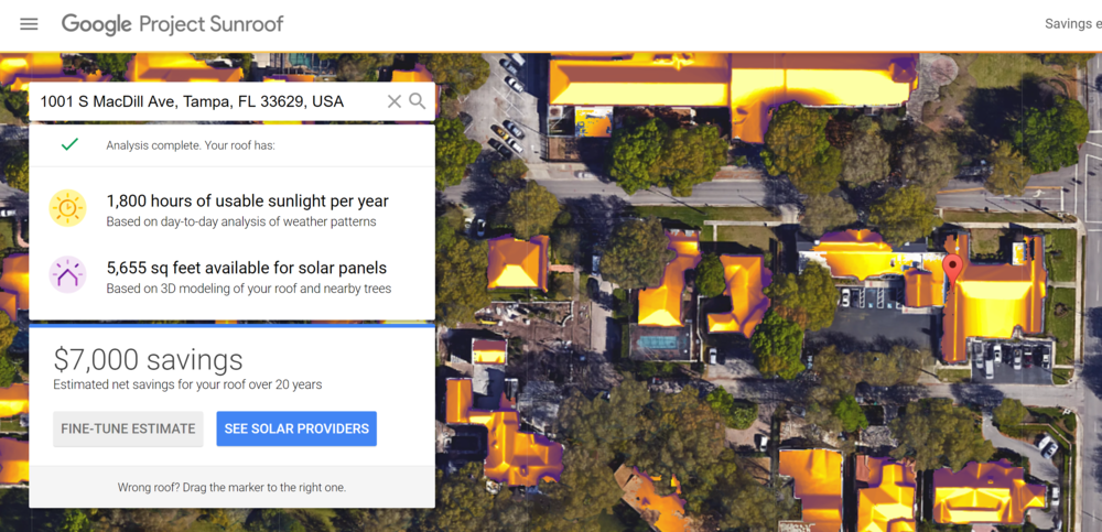 Our office could save $7k by installing solar panels. Not too shabby! Thanks, Google Project Sunroof!