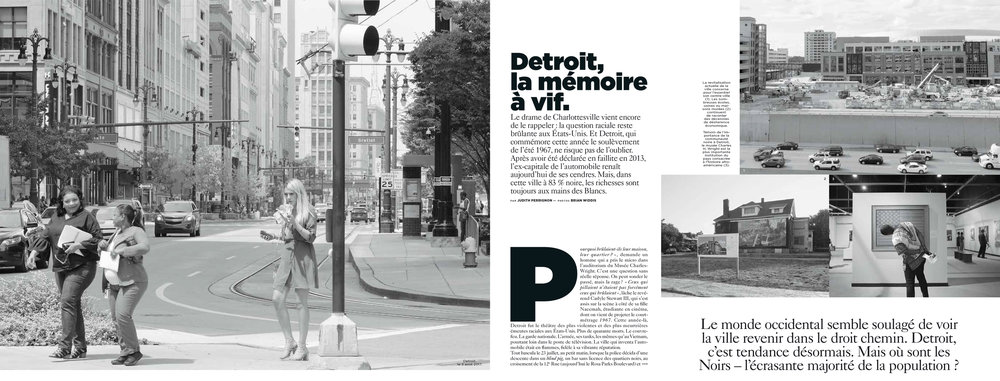 AUGUST 2017   Brian's gone international with this amazing spread for M le mag, the Saturday magazine for the French newspaper Le Monde. He was contracted to do a photo essay looking at Detroit fifty years after the 1967 riots.