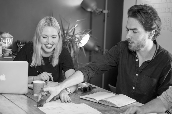 Corien & Euan at a design review meeting