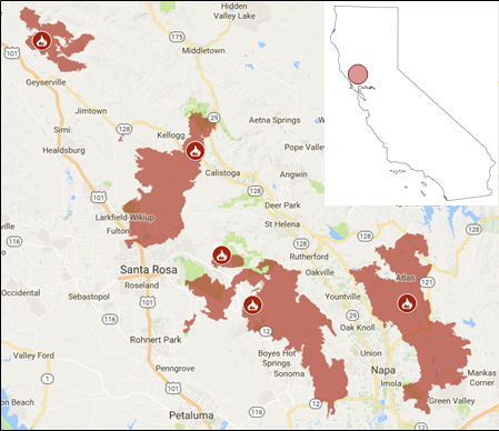 Fires active as of October 15 in the Napa/Santa Rosa area in Northern California, according to Cal Fire.
